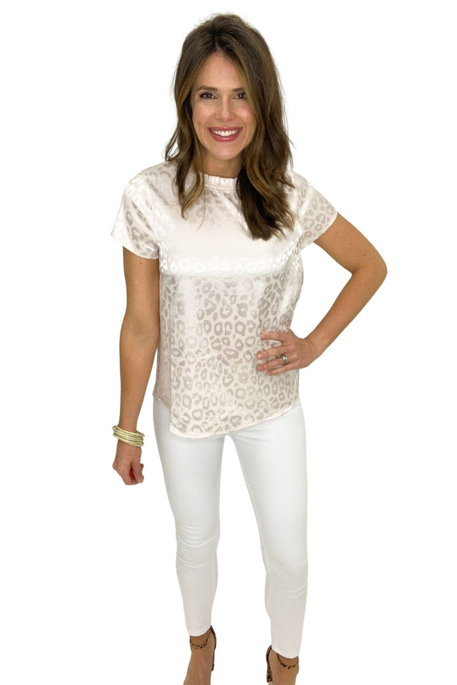 champagne satin animal print short sleeve top, white skinny jeans, spring tops, shop style your senses by mallory Fitzsimmons