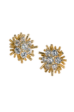 Gold Sunburst Stud Earrings w/ Rhinestone Center