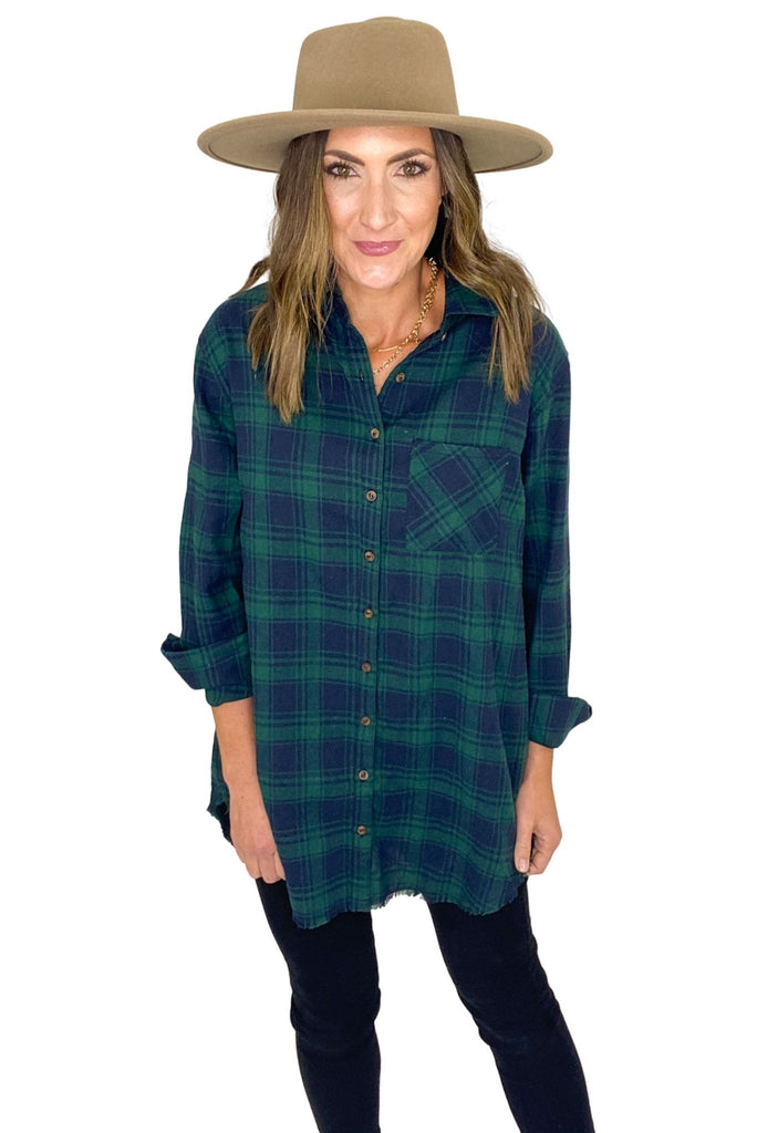 Hunter Green Plaid Long Button Down Flannel Top