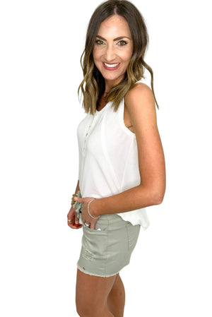 light moss denim shorts w/ drawstring, spring style, summer outfits, shop style your senses by Mallory Fitzsimmons