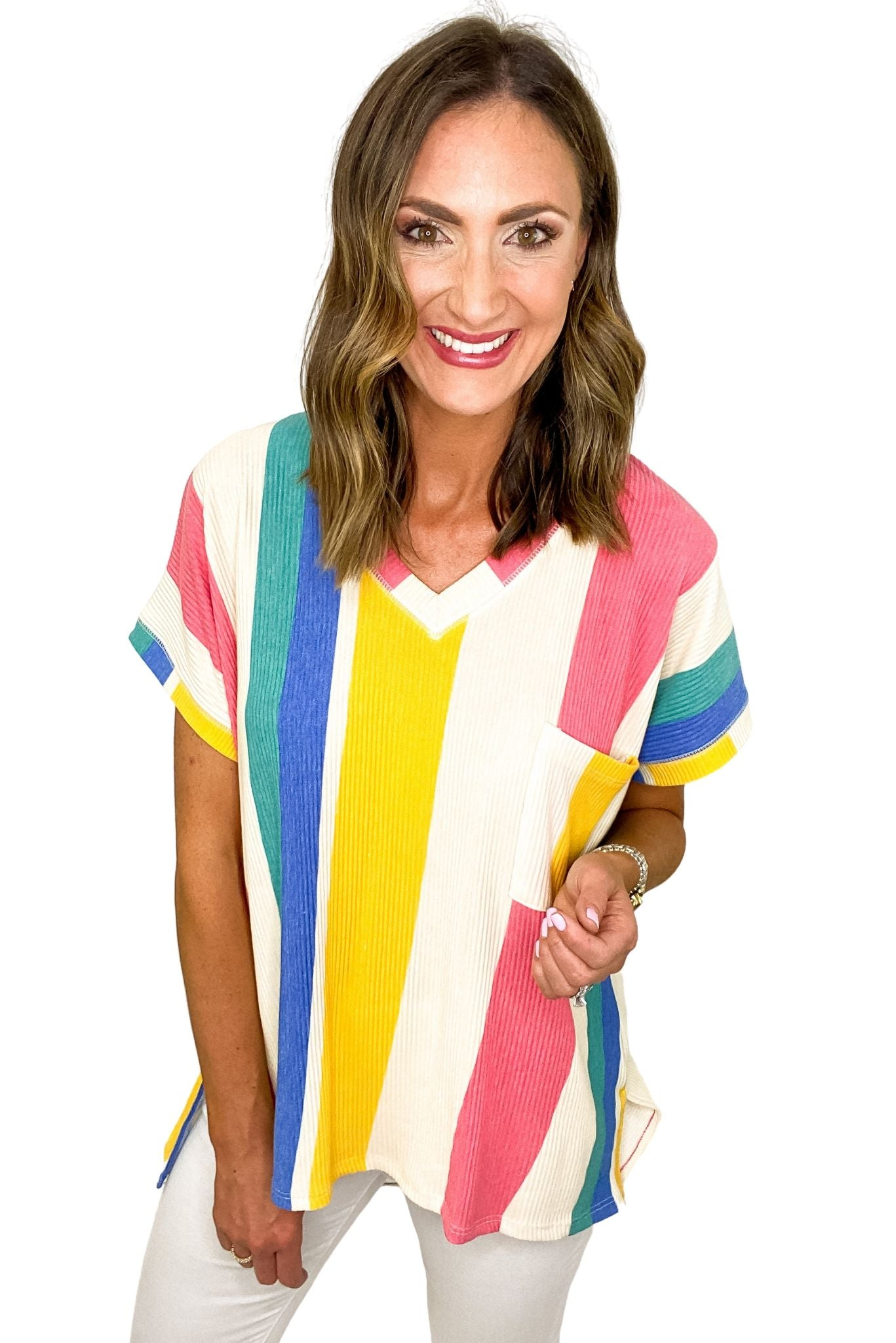 Oversized Multi Color Stripe Top w/ Pocket *FINAL SALE*