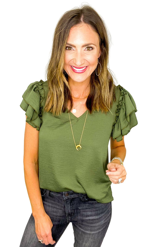 Olive V Neck Double Ruffle Short Sleeve Top *FINAL SALE*