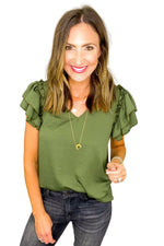 Olive V Neck Double Ruffle Short Sleeve Top