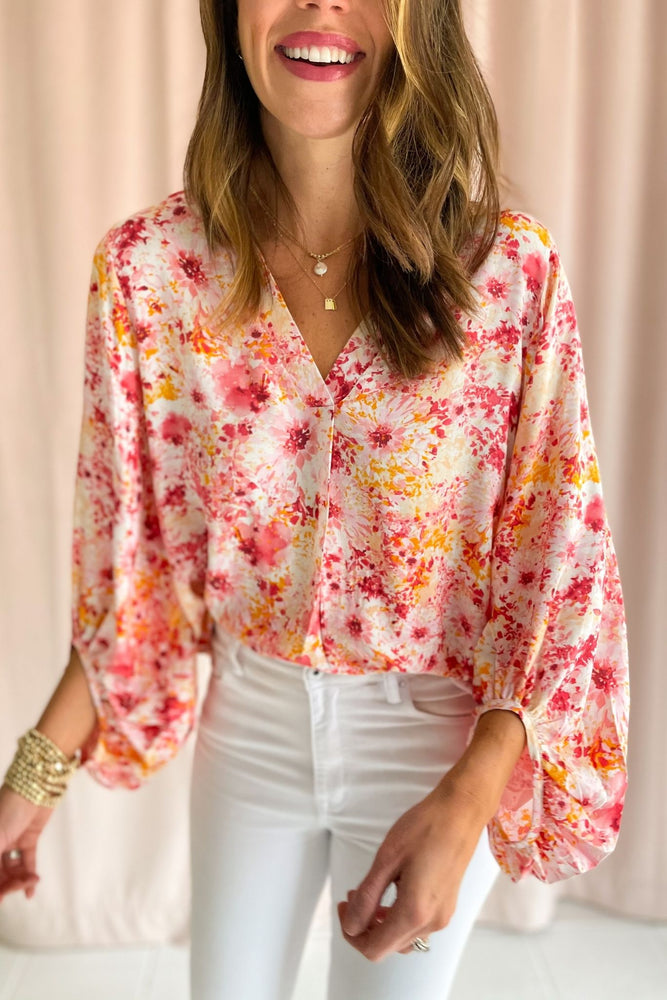 coral floral balloon sleeve top, white skinny jeans, spring tops, spring fever, shop style your senses by mallory fitzsimmons