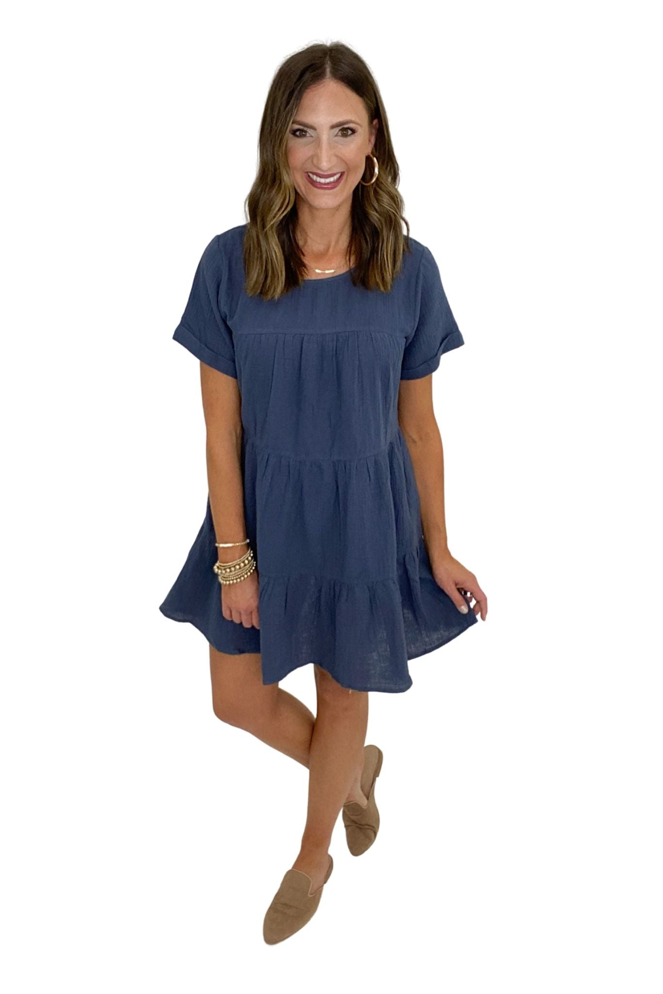 Navy Tiered Short Sleeve Dress