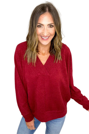Load image into Gallery viewer, Burgundy V Neck Chunky Sweater *FINAL SALE*
