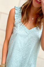 seafoam monochromatic animal print tank with ruffle shoulder, spring tops, shop style your senses by mallory fitzsimmons