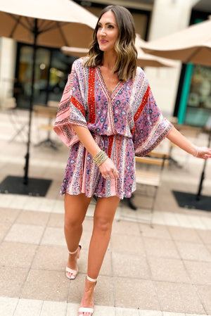 colorful mixed print crossover romper, spring outfits, shop style your senses by mallory fitzsimmons