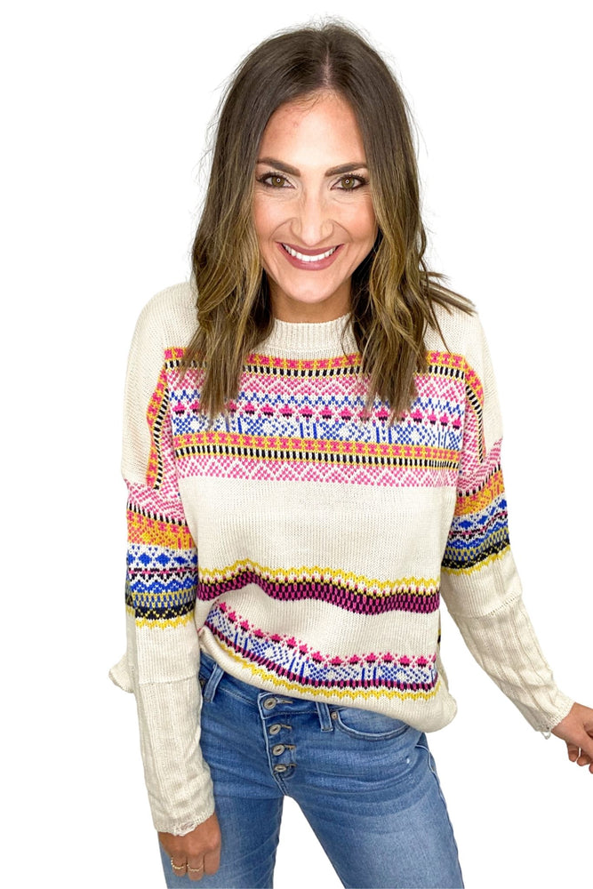 Oatmeal Boho Pattern Sweater