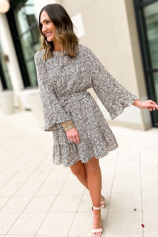 oatmeal and black spotted print dress with ruched waist, spring dresses, Sunday style, shop style your senses by mallory fitzsimmons
