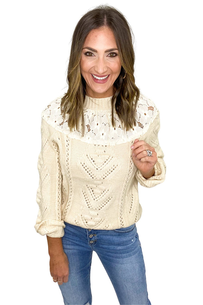 Beige Cable Knit Sweater w/ Lace Collar