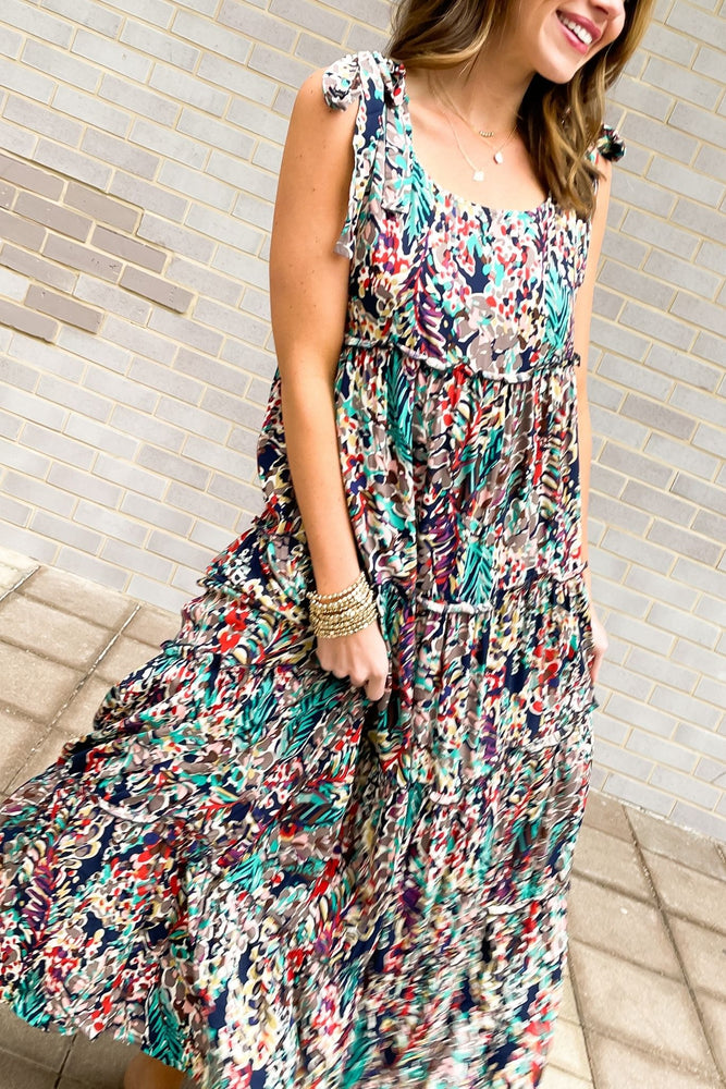 navy watercolor floral tie shoulder maxi dress, spring dresses, affordable style, shop style your senses by mallory fitzsimmons
