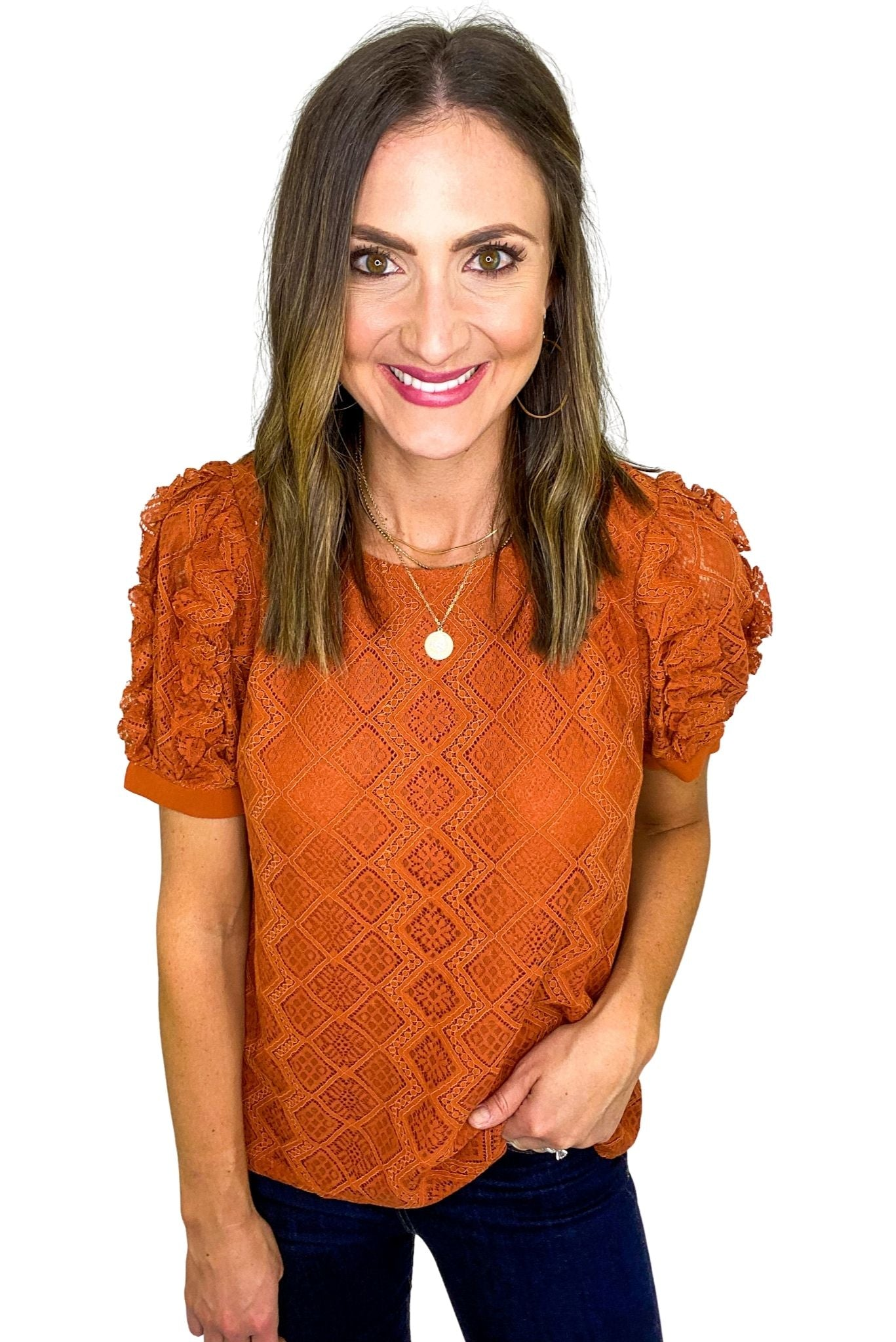 Rust Lace Puff Short Sleeve Top *FINAL SALE*