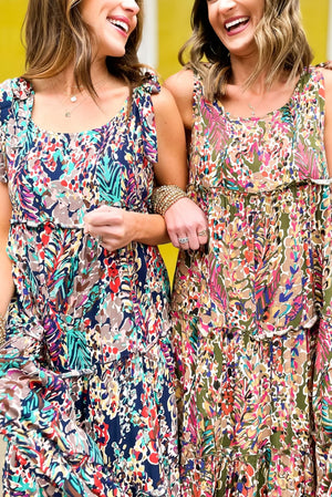 olive watercolor floral tie shoulder maxi dress, spring dresses, affordable style, shop style your senses by mallory fitzsimmons