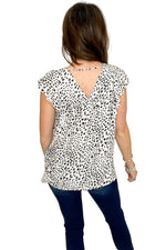 Ivory Animal Print Flutter Sleeve Top