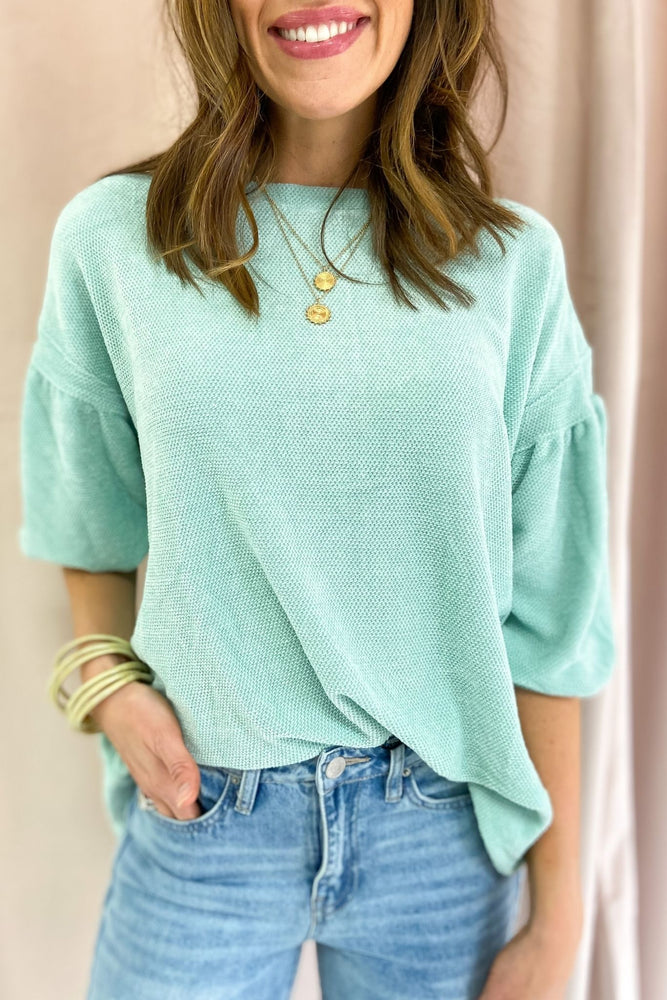 mint chenille balloon sleeve top, boyfriend jeans, spring tops, shop style your senses by mallory Fitzsimmons