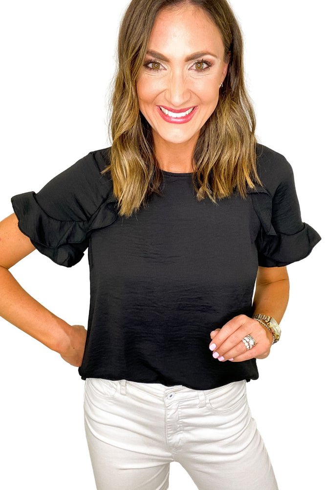 Black Short Sleeve Round Neck Top w/ Ruffle Details