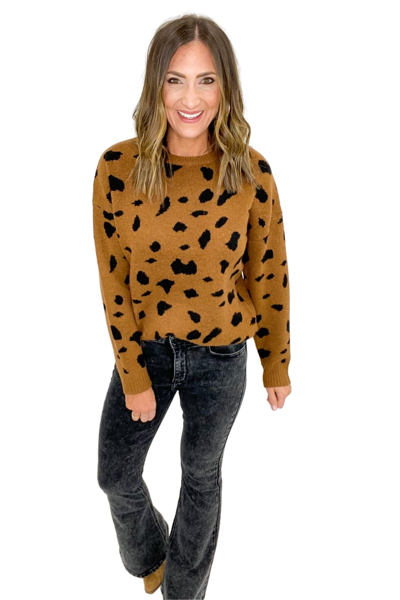 Tan Spotted Crew Neck Sweater