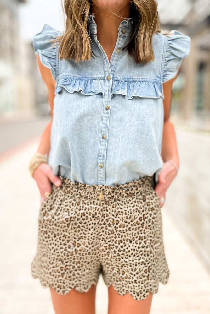 chambray flutter sleeve button down top, animal print shorts, spring tops, affordable style, shop style your senses by mallory fitzsimmons