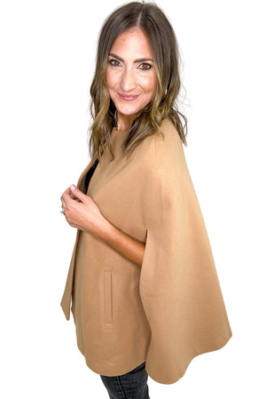 Load image into Gallery viewer, Camel Woven Cape Jacket *FINAL SALE*