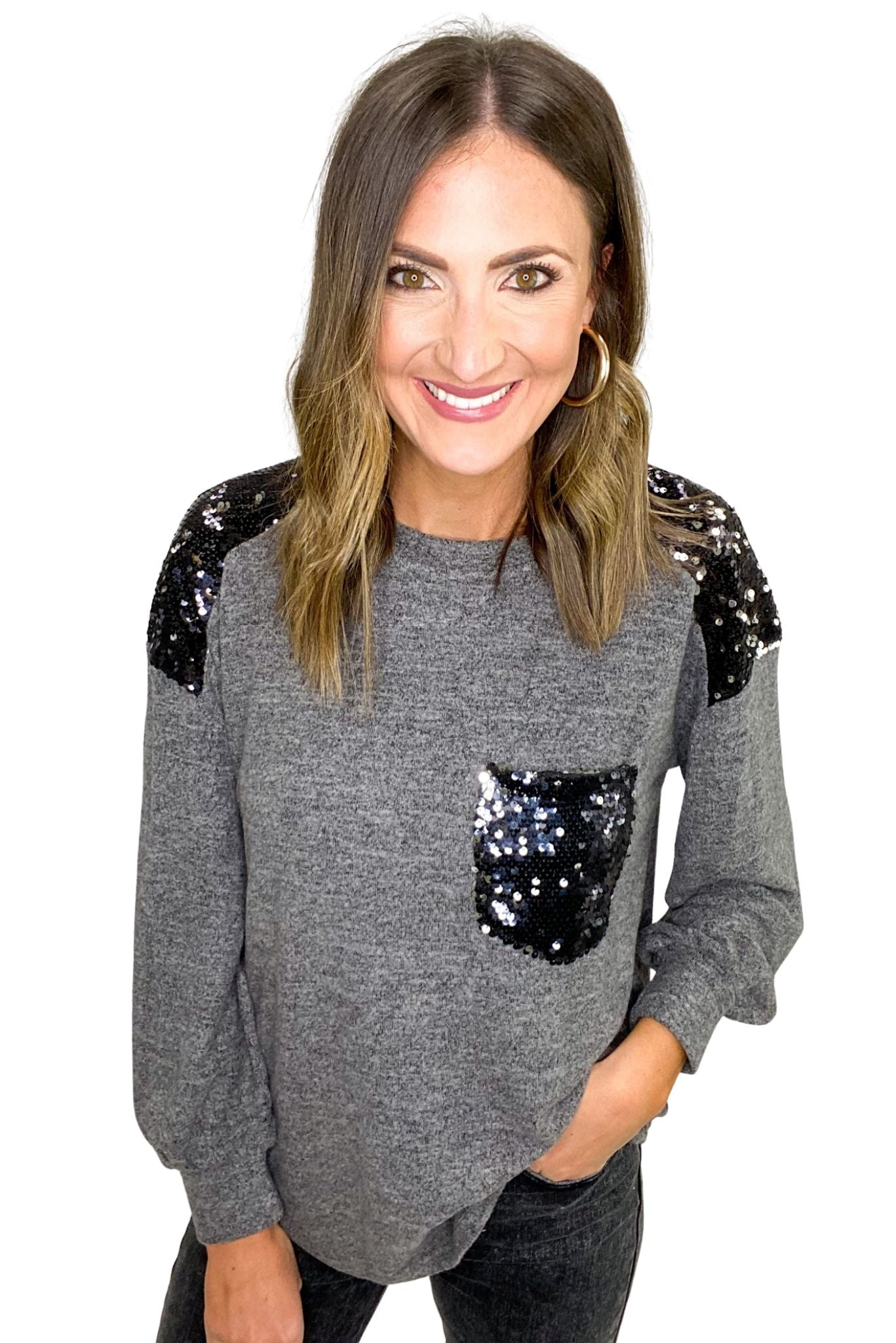 Heather Grey Long Sleeve Top w/ Sequin Patches