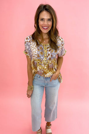 mustard mixed floral print oversized top, wide leg cropped jeans, spring tops, shop style your senses by mallory fitzsimmons