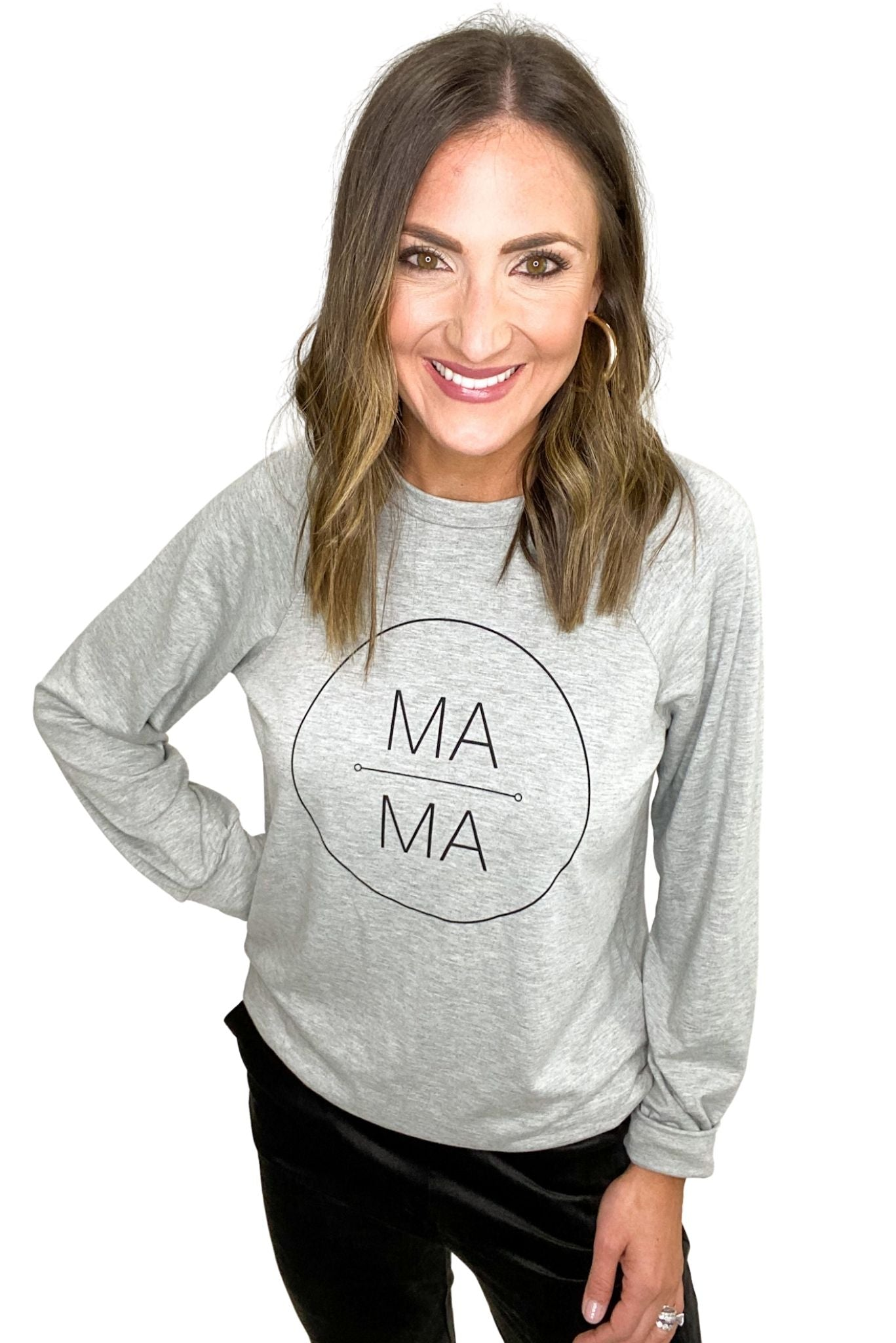 'MA MA' Heather Grey Sweatshirt