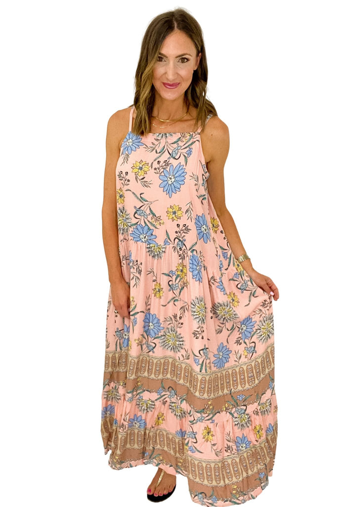 Blush Floral Print Square Neck Maxi Dress