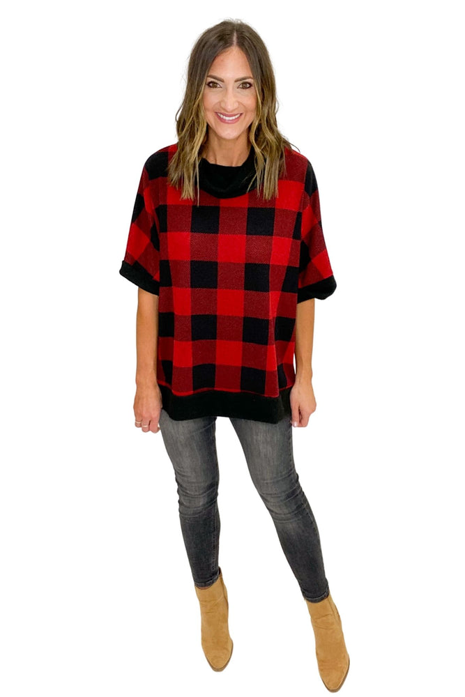 Red and Black Buffalo Plaid Cowl Neck Oversized Short Sleeve Top *FINAL SALE*
