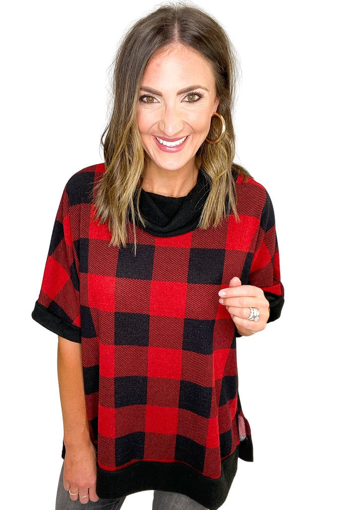 Red and Black Buffalo Plaid Cowl Neck Oversized Short Sleeve Top