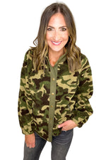 Camo Button Up Sherpa Jacket