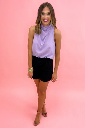 lavender cowl neck sleeveless top, black pleated shorts, spring tops, shop style your senses by mallory fitzsimmons