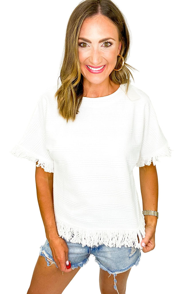White Textured Short Sleeve Top w/ Fringe Trim