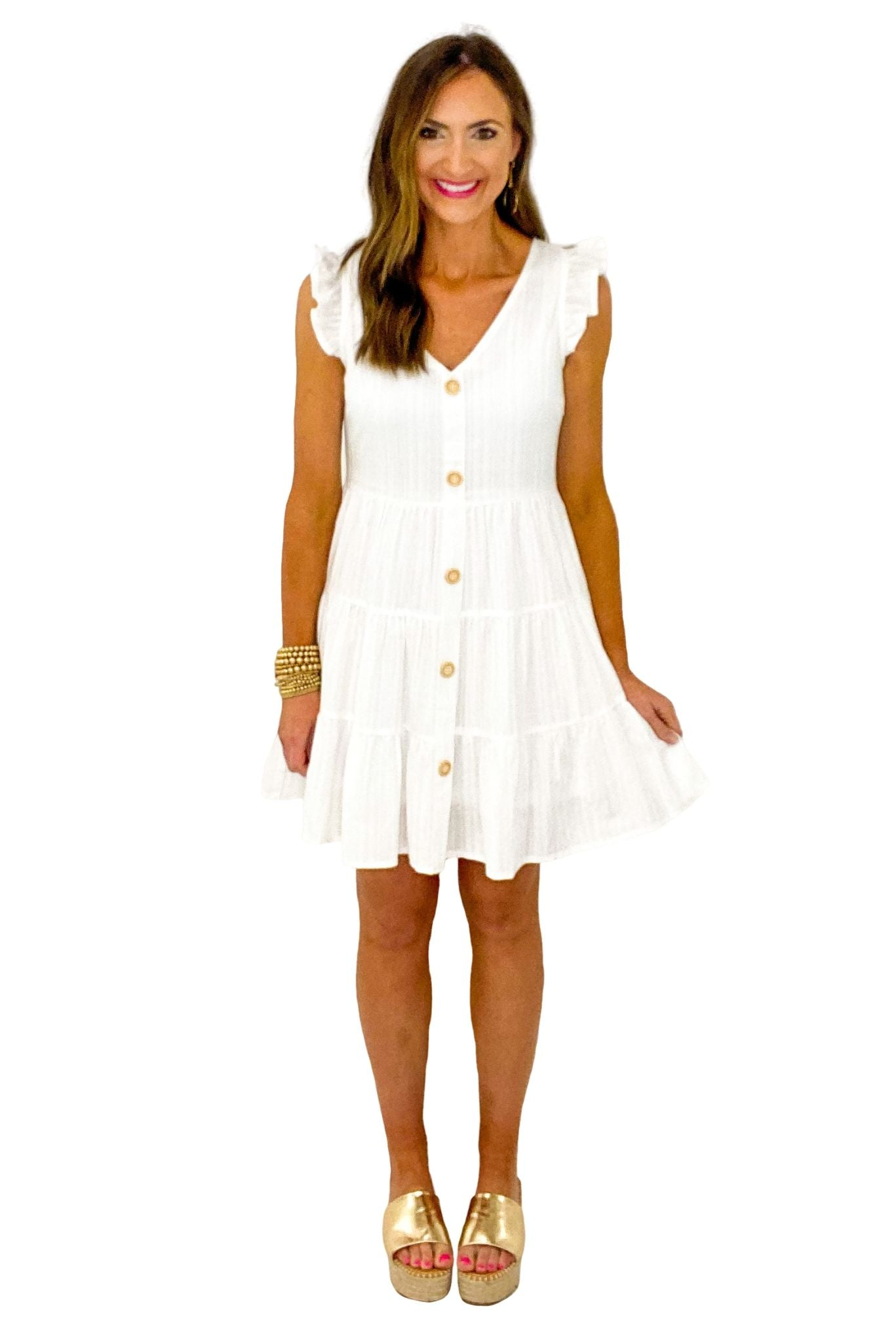 Ivory Button Front Tiered Dress