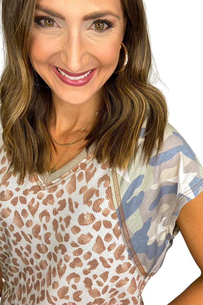 Animal Print Top V Neck Top w/ Camo Sleeves