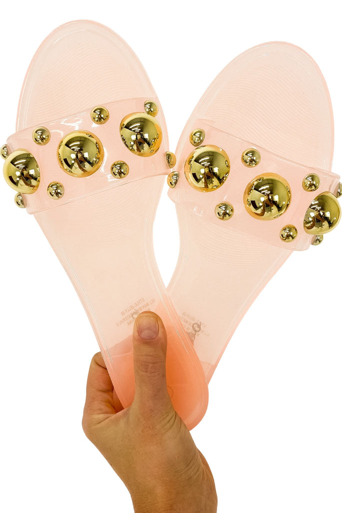 Light Pink Jelly Slides w/ Gold Baubles