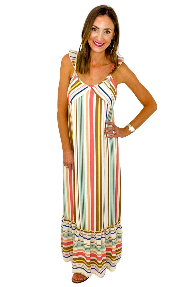 Colorful Stripe Maxi Dress w/ Flutter Straps