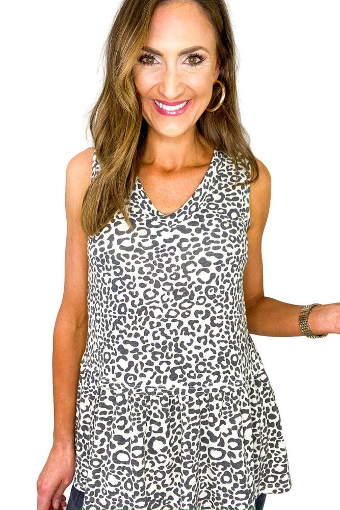 Animal Print V Neck Peplum Tank