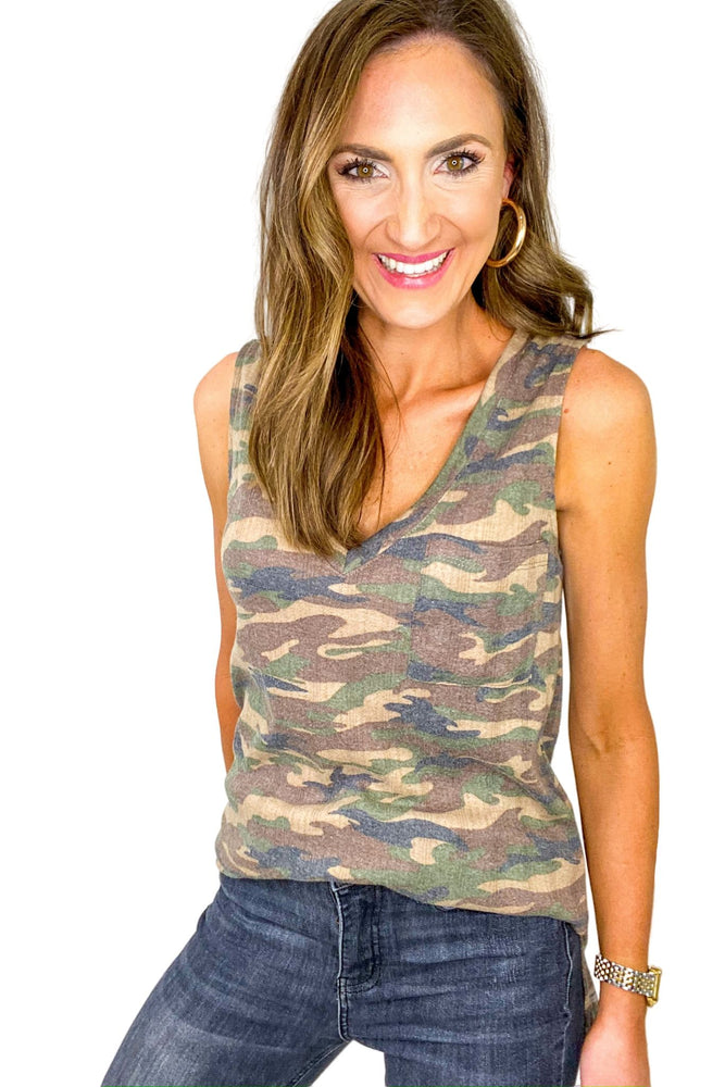 Camo V Neck Side Slit Tank