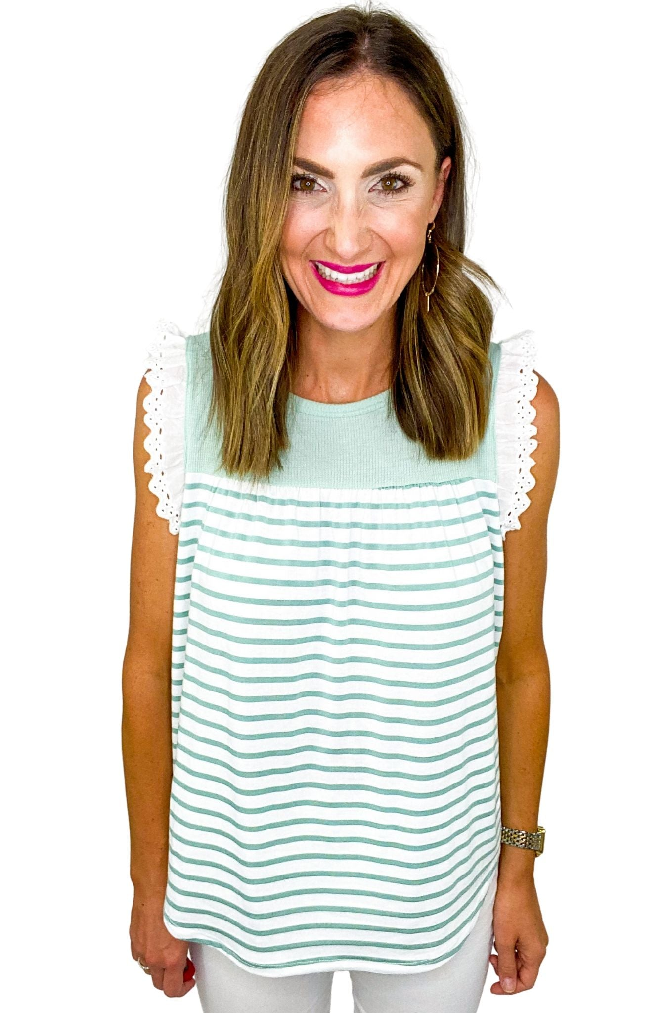 Mint Stripe Top w/ Eyelet Mini Ruffle Sleeve
