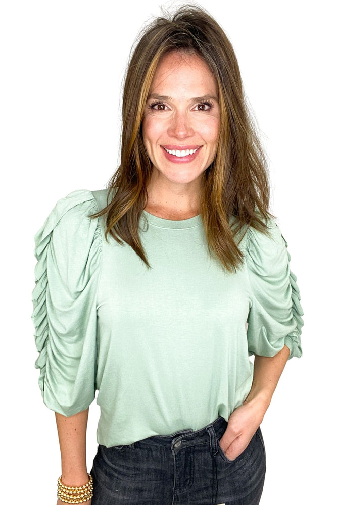 sage ruched sleeve jersey knit top, gray jeans, spring tops, shop style your senses by mallory fitzsimmons