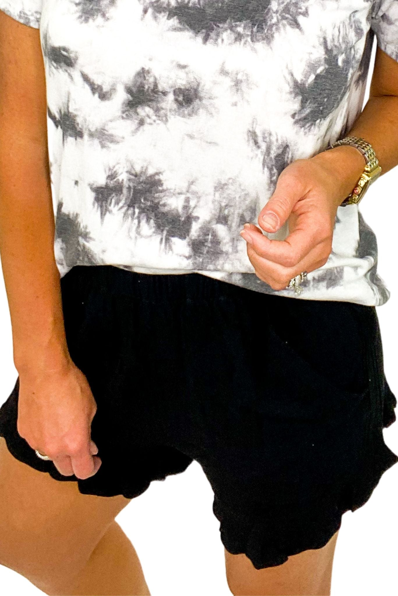 Black Ruffle Hem Shorts w/ Pockets