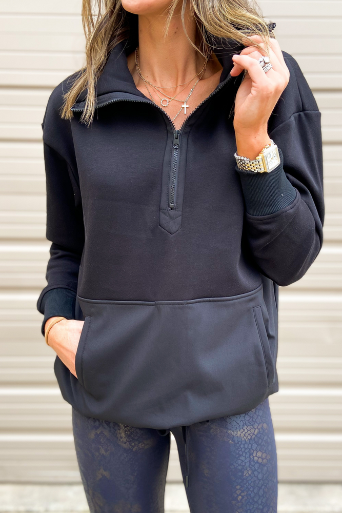 Load image into Gallery viewer, Black Athleisure Half Zip Pullover