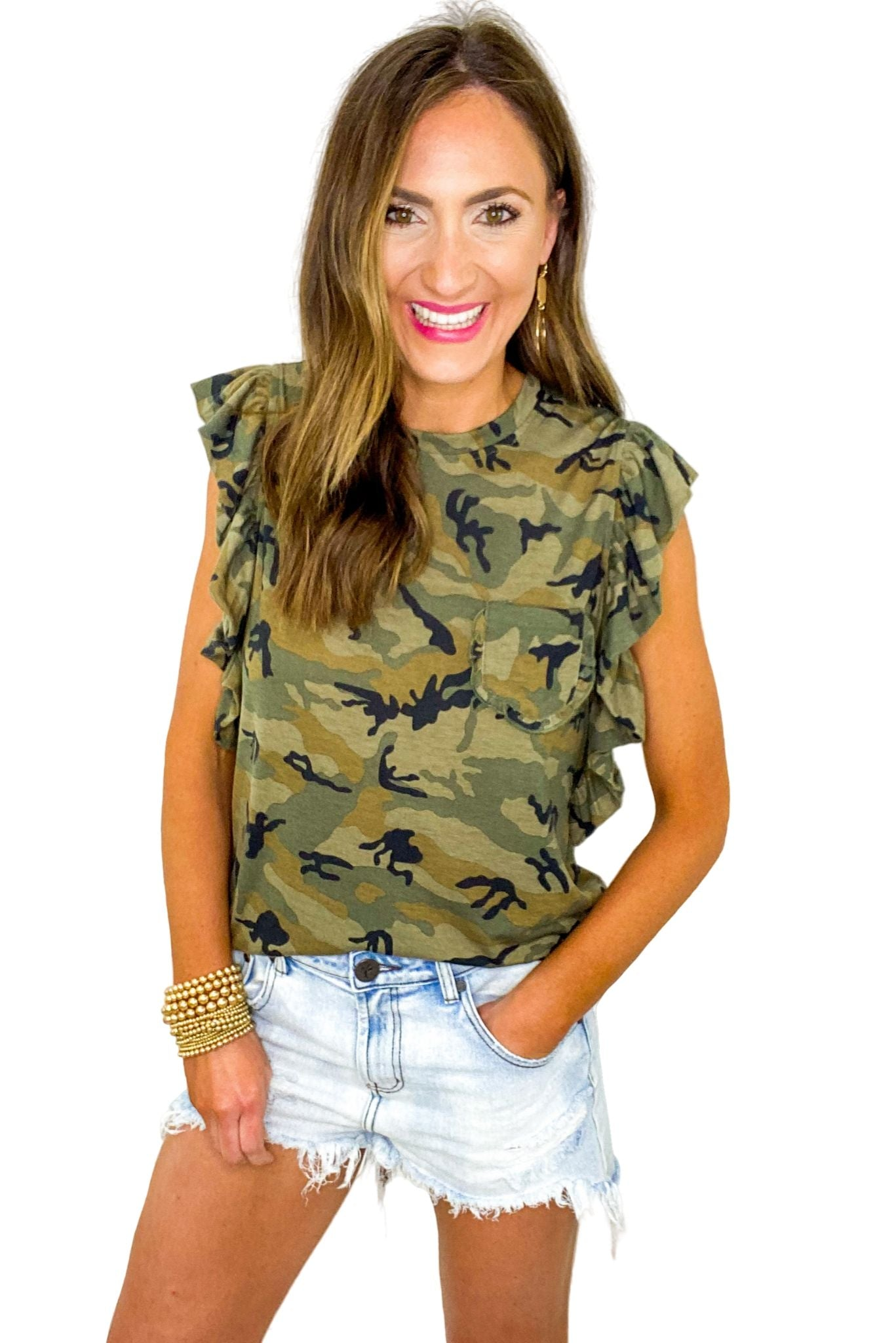Camo Ruffle Sleeve Tee w/ Pocket