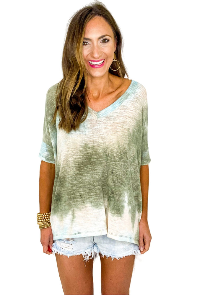 Muted Multi Color Tie Dye V Neck Oversized Top