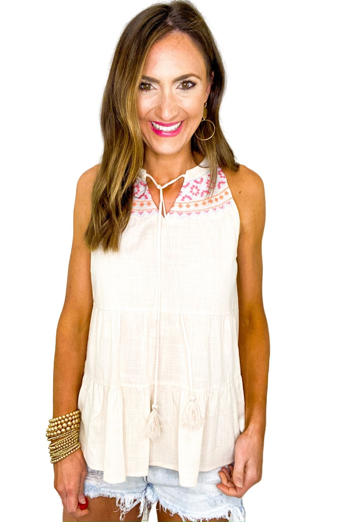 Tan Embroidered Halter Top *FINAL SALE*