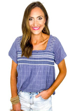 Blue Embroidered Smocked Top