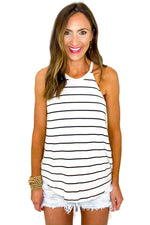 Ivory Halter Top w/ Black Stripes