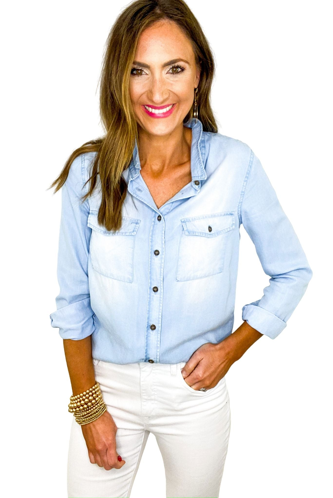 Long Sleeve Button Down Chambray Top