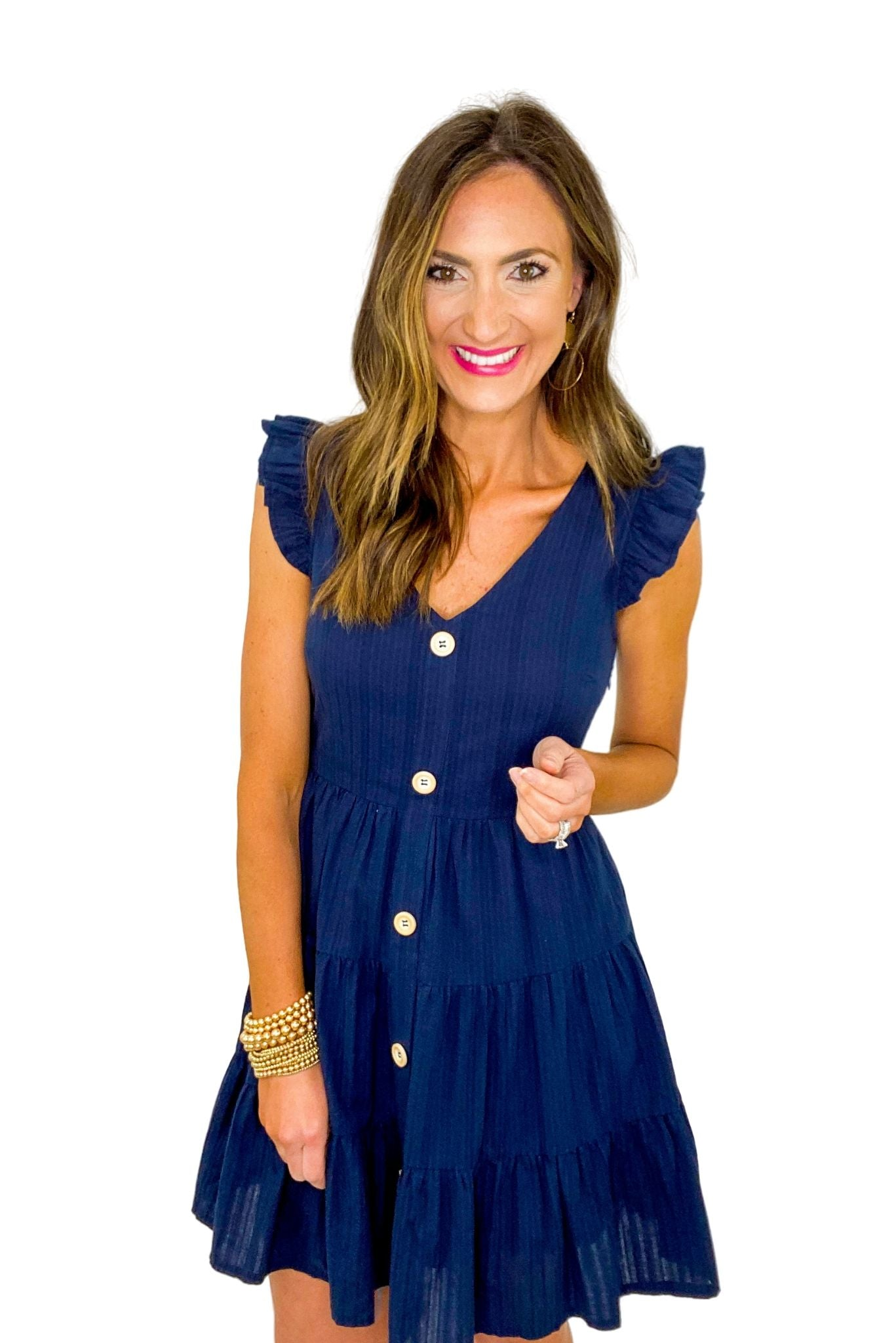 Navy Button Front Tiered Dress
